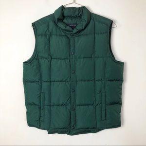 Lands End men's green puffer vest size large